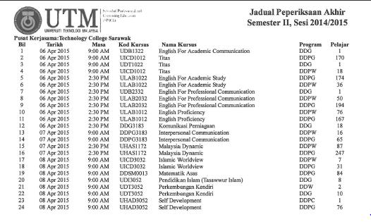 TCS Virtual Board: Final Exam Schedule